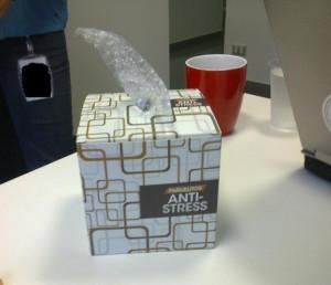 Bubble wrap and coffee.. Yep :)