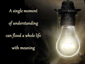 single moment of understanding can flood a whole life with meaning ...