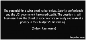 The potential for a cyber pearl harbor exists. Security professionals ...