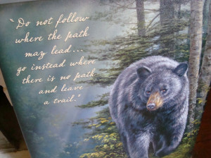 ... Black Bear Mountain Pass Painting Canvas Print Inspirational Quote