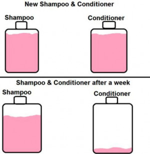 This is so true... I go through about 3 conditioner bottles for every ...