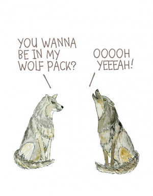 Wolf pack, the Hangover quote, birthday friendship, ink and watercolor ...