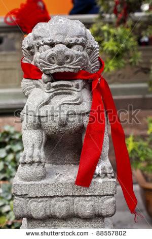 Stone Dragon Red Ribbons Buddhist Sayings Jade Buddha Temple Jufo Si ...