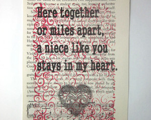 Niece quote, saying, poem, print on a book page, Here together or ...