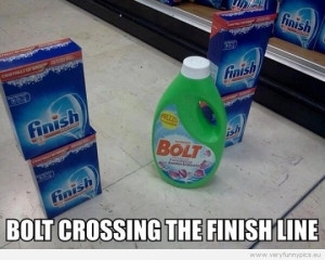 Funny Picture - Bolt crossing the finnish line