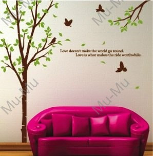Large Family Tree Birds Quote Wall Art Stickers Decals