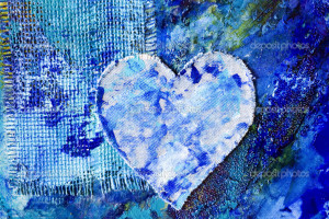 Blue Heart Abstract Art Painting