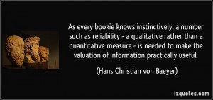 knows instinctively, a number such as reliability - a qualitative ...