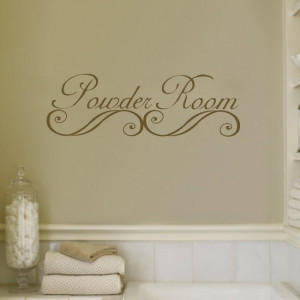 Bathroom, Powder Rooms Bathroom Wall Decals Quotes Design With Flower ...