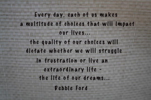 Quality of Choices quote by Debbie Ford