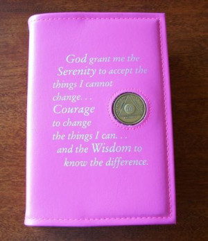 Alcoholics Anonymous AA Big Book Serenity Prayer Medallion Holder Pink ...