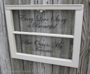 My Repurposed Life-Old window with vinyl