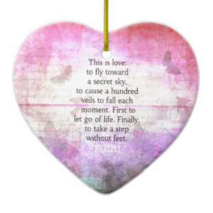 Rumi quote.Spiritual, Inspirational LOVE art Christmas Ornaments