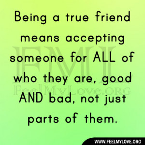 Being a true friend means accepting someone for ALL of who they are ...