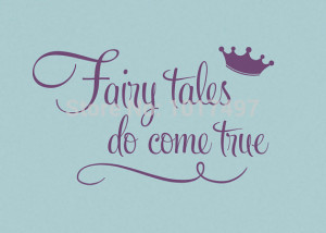 Princess with crown wall quote stickers - Fairy tales Do Come True ...