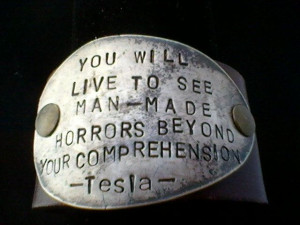 Tesla quote-upcycled leather cuff-hand stamped silverware jewelry.