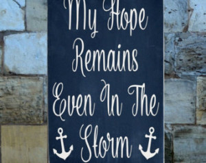 ... Strength Quote Anchor Beach Rustic House Wood Sign Nautical Coastal