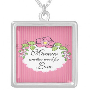 Mamaw Love Grandparent Necklace Floral Frame