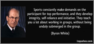 Sports constantly make demands on the participant for top performance ...