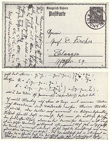 1915 postcard from one of the pioneers of commutative algebra, Emmy ...