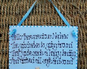 Handcrafted New Baby Newborn Gift & quot;Hello Precious Nephew