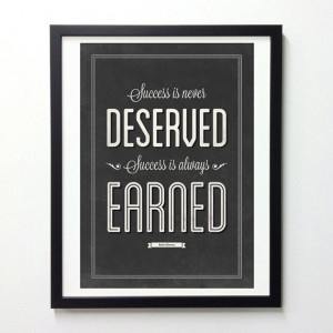 Robin Sharma Quote Poster - Success Is Always Earned - Black and White ...
