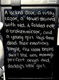 locked door, a rusty razor, a towel stained with red. A folded note ...