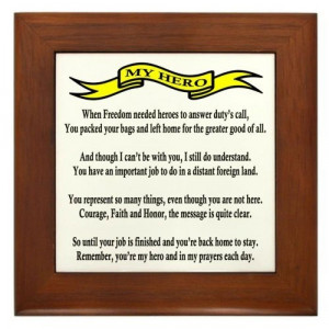Proud Air Force Mom Hero Poem Framed Tile by CafePress by CafePress ...