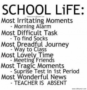 Funny Jokes Quotes And Pictures About Life: School Life Rulesin White ...