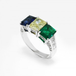 Sapphire Yellow Diamond and Emerald Color Block Ring in 18k White Gold ...