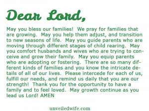 Prayer Quotes For Friends And Family Prayer: growing families