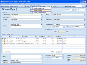 ... another (for example, convert quotes to invoices) without retyping