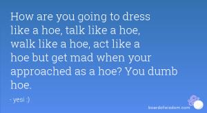 are you going to dress like a hoe, talk like a hoe, walk like a hoe ...