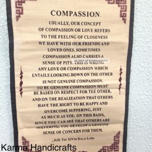 Tibetan Yoga Buddhist Compassion H. H Dalai Lama Quote Wall Hanging ...