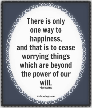 There is only one way to happiness and that is to cease worrying.