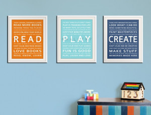 Children art CREATE typography art print for kids. Wall art quotes for ...