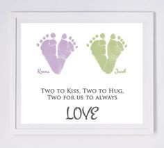 Twins Baby Footprint Art, Forever Prints. Mother's Day, New Mom, Dad ...