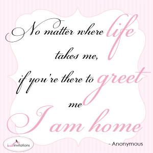 am home wedding invitation quote