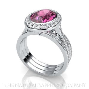 Pink Sapphire Ring with Halo