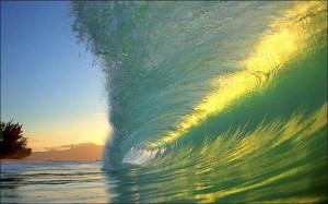 Sun Shining Through Wave