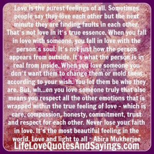 True Love Trust Respect Quote | love is the purest feelings of all ...