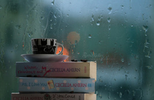 book, by rona keller, cup, cute, rainy day