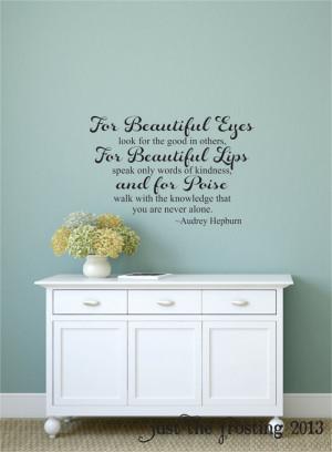 Audrey Hepburn For Beautiful Eyes Quote Wall Decal, Teen Girl's Vinyl ...