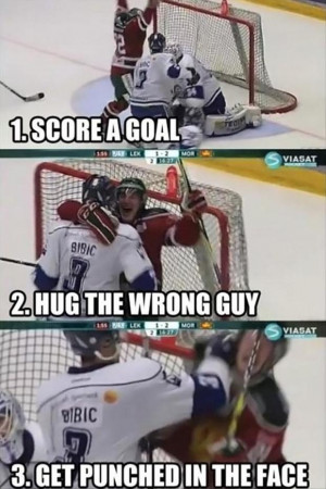 score a goal, hug wrong guy, punched in the face, funny hockey ...