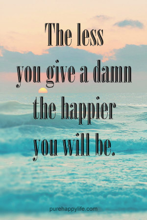Happiness Quote: The less you give a damn the happier you will be.