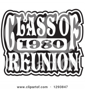 Clipart of a Black and White Class of 1980 High School Reunion Design ...
