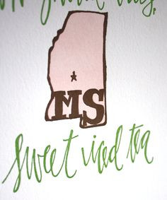 Cute Mississippi Letterpress Print More