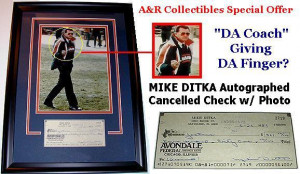 Chicago Bears Coach Mike Ditka 'Da Finger' Signed Check/Photo Combo