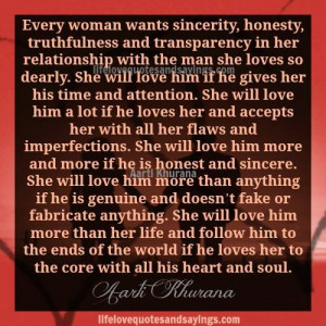 Women Want Honesty In Relationships.