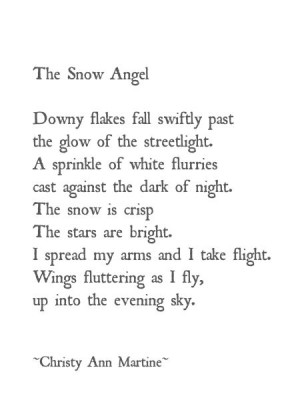 ... Snow Angel ~ poetry ~ poem quotes sayings imagery writing - Christy